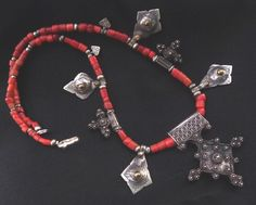 Africa | Old Berber necklace from South Morocco.  Silver, and Mediterranean coral.  ca. mid 20th century. | 279$