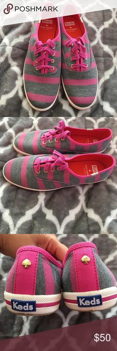 NEVER WORN! Kate Spade for Keds sneakers NEVER WORN! Kate Spade for Keds sneakers in pink and grey. kate spade Shoes Sneakers