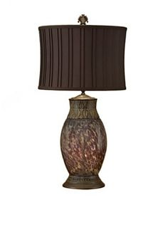 John-Richard Collection Crackle Glass Lamp, Brown/Celadon