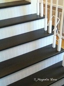 15 Great Uses for Beadboard (including the stairs!) I think this would look nice on my stairs. Then maybe paint the steps a dark color to look like stained wood