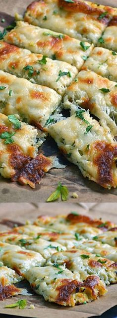 These Low Carb Cauliflower Breadsticks from Real Housemoms have delicious fresh herbs, garlic, and ooey gooey cheese!
