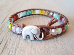 Colorful leather wrap bracelet RainBow Baby Elephant by slashKnots
