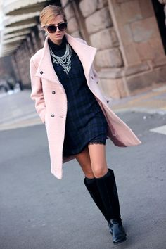 Women fashion clothing outfit style pink coat black boots sunglasses dress necklace spring autumn casual street