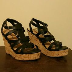 Black and cork wedges Strappy black wedges with a 4 1/2 in. heel.  Worn just a few times.  Very comfy, especially for a boutique brand. city CLASSIFIED Shoes Wedges