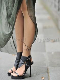 Women Ankle Bracelet Print Tattoo Sheer Pantyhose