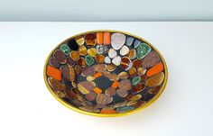 Vintage Bowl Pebble Stone Gold Decorative, Green Black Gold Stone Inlay Dish, Key Bowl, Catch All Dish, Boho Chic, Bohemian, Earthy Decor by CurioBoxx on Etsy