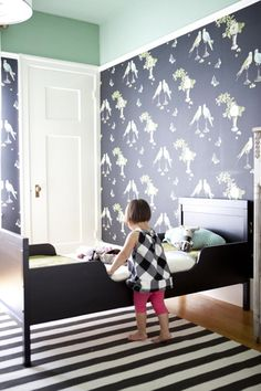 From Emily Meyer @Tea Collection founder interview - perroquet wallpaper in black