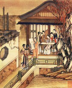 """10. 清 陈枚《月曼清游图册》(全本) - 十月""""文窗刺绣"""" Korean Painting, Chinese Painting, Chinese Art, Japanese Folklore, Japanese Art, Chinese Picture, Asian Landscape, Chinese Mythology, Ancient China"""