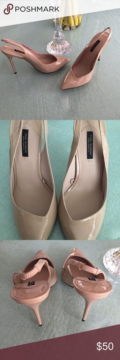 Zara Nude patent leather slingback Sold out. Like new! Only tried on. Size 38. Runs small so will fit a 7.5 better unless you have narrow size 8 feet. Shoes Heels