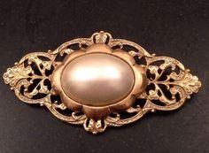 """Art Nouveau Style Gold En Brooch Large Faux Pearl Cabochon 2 75"""" x 1 5""""   eBay"""
