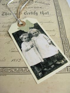 Vintage family photograph tags & bookmarks