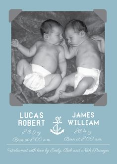 Nautical Birth Announcement for twins #twins #nautical #birthannouncement