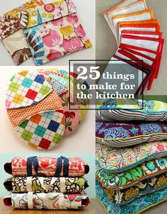 25 things to make and sew for the kitchen! #DIY Crafts To Sew, Diy And Crafts Sewing, Diy Sewing Projects, Best Diy Projects, Crafts For Kids, Sewing Tips, Sewing Ideas, Sewing To Sell, Free Sewing