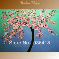 Goedkope aangepaste abstracte impasto bloesem boom schilderen, tinten van blauw roze bloemen huisdecoratie kunst aan de muur wandkleden kunst beste cadeau, koop Kwaliteit Schilderen& kalligrafie rechtstreeks van Leveranciers van China: aandacht besteden:neem danleesdespecificatieshieronderzorgvuldigvoordat je het koopt, als u wilt dat andere groott