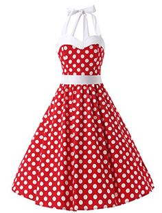 259f3aa829 Amazon.com  Dresstells Vintage 1950s Rockabilly Polka Dots Audrey Dress  Retro Cocktail Dress  Clothing