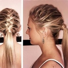 french braid into ponytail! Great for SECIND day old hair!