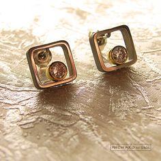 Modern Earrings Studs with zirconia CZ and by ZbigniewMichalowski, €20.00
