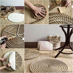 DIY Rope Rug diy crafts craft ideas easy crafts diy ideas diy idea diy home sewing easy diy for the home crafty decor home ideas diy decorations diy sewing tutorials diy rug Rope Crafts, Diy And Crafts, Twine Crafts, Upcycled Crafts, Diy Décoration, Easy Diy, Simple Diy, Diy Projects To Try, Home Projects