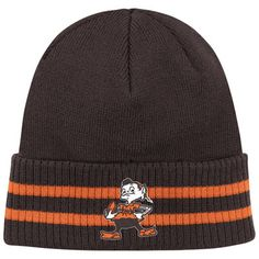 0482d2702 Cleveland Browns Black Mitchell   Ness Throwback Stockey Stripe Cuffed Knit  Hat Cleveland Browns