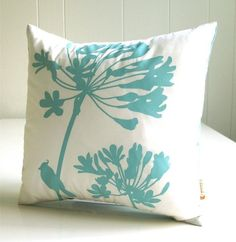 Mint Print on Off-White Cardinal on Agapanthus-Mini 10.5 Inches Square Pillow