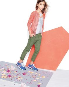 J.Crew sequin heart tee worn with the lightweight size-sip utility pant and rose crystal necklace.