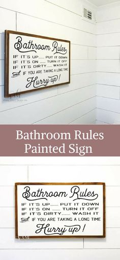Love this bathroom decor sign with the best bathroom rules!! #affiliate #bathroomdecor #homedecor #farmhouse #rustic