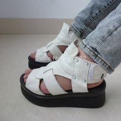 2014 fashion summer genuine leather wedges sandals white platform open toe platform flat women's shoes US $45.00