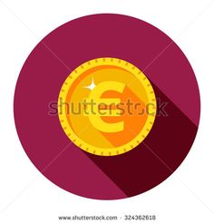 Vector gold coin. Euro. The flat style.