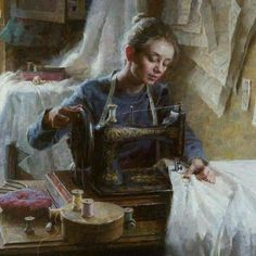 """Inset from """"The Dressmaker's Shop, ~ Morgan Weistling. From The Autry Museum's """"Masters of the American West"""" showing. Aesthetic Painting, Aesthetic Art, Classic Paintings, Beautiful Paintings, Art Sketches, Art Drawings, Tableaux Vivants, Mode Poster, Renaissance Kunst"""