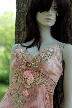 Blush spring dress--hand dyed reworked vintage dress, dress, bohemian romantic, wearable art, antique laces,  and hand embroidery