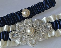 Wedding Garter Set - Navy Blue Garters And Ivory Satin With Rhinestone Embellishments, Garter Belts, Bridal Garter Set