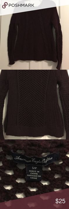 American Eagle burgundy scoop neck sweater perfect for the winter season! rarely worn! there are holes in the back so wearing a camisole underneath will keep you warmer and make it look more appropriate. loose fit in the torso, tighter fit in the arms American Eagle Outfitters Sweaters Crew & Scoop Necks