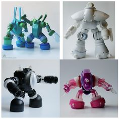 Amazing robots out of garbage/recycled plastic. Site is in Spanish. Plastic Bottle Crafts, Bottle Cap Crafts, Diy Bottle, Plastic Bottles, Fun Arts And Crafts, Arts And Crafts Supplies, Diy And Crafts, Crafts For Kids, Recycled Robot