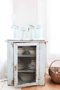 Vintage French Blue Canning Jars
