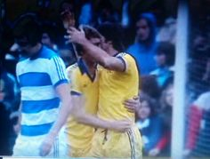 QPR 1 Everton 5 in Oct 1977 at Loftus Road. 4 goal hero Bob Latchford celebrates his first goal in the Division 1 rout.