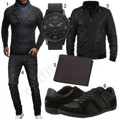 Men's black outfit with Leif Nelson knit sweater, Fossil men's wristwatch, Solid leather jacket, A. Salvarini jeans, Tommy Hilfiger shoes and buffalo leather purses. Big Men Fashion, Tomboy Fashion, Winter Fashion, Leather Jacket Outfits, Men's Leather Jacket, Black And Grey Outfits, Swag Outfits Men, Neue Outfits, Tommy Hilfiger Shoes
