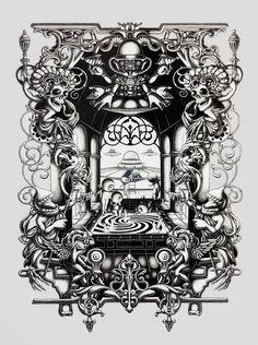 L'artiste anglais Joe Fenton, basé à Londres, réalise d'incroyables illustrations monochromes ultra détaillées et méticuleuses, principalement à base de crayons, d'encre et de peinture acrylique sur papier. Un travail impressionnant qui mélange dans un univers surréaliste des influences très diverses, de la culture hindoue au christianisme en passant par le Baroque et le Rococo