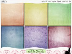 Instant Download 12 x 12 inch Distressed Hexagon Patterns by JustBYourself.  This collection of 6 - 12 x 12 inch papers features 6 different tone-on-tone distressed hexagon patterns on pretty pastel gradient backgrounds of orange, yellow, green, blue, purple, and pink. (1072) $2.50