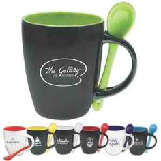 #Bistro Mug-12 oz. Bistro mug is constructed out of ceramic and features a black or white exterior with a colored interior. Comes with a ceramic, matching colored spoon that conveniently fits through two notches in the handle. This unique mug is perfect for promoting cafes, coffee shops, and restaurants. Makes a great giveaway at trade shows and conventions, too! This mug may be customized with your company name and logo or purchased without imprint.