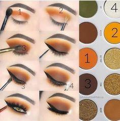 Beautiful Eye Makeup, Simple Eye Makeup, Fall Eye Makeup, Fall Makeup Looks, Natural Makeup, Natural Beauty, Orange Eye Makeup, Awesome Makeup, Summer Makeup