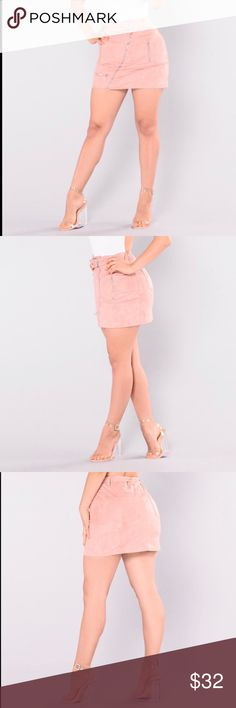Suede Moto Skirt Rose pink high waisted suede skirt. Front diagonal zipper to put on or take off. Brand new, never worn and fits a little lose. Fashion Nova Skirts Mini