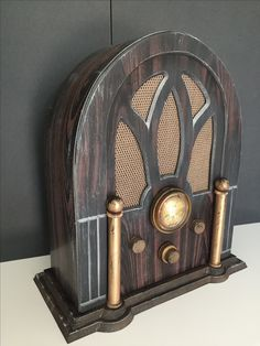 Magalie Sarnataro's prop Halloween 2017 The Hollywood Tower Hotel  Vintage radio for HTH library: foam board, paint , mesh for speakers Lights inside and collapsible