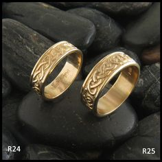 Matching Celtic Heart Knot Bands in Gold.