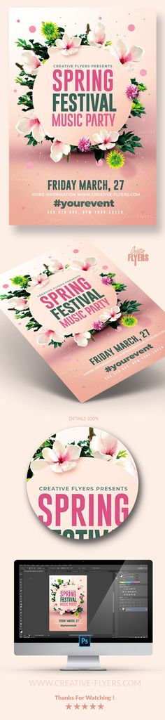 "Eye-catching flyer Template ! If you liked this style, enjoy downloading this Photoshop PSD Template ""Spring Festival Flyer"", a first-rate design by Creative Flyers perfect to promote your Spring Party ! #spring #festival #flyer #template #psd #photoshop #creative #poster #affiche #graphicdesign #flower #party"