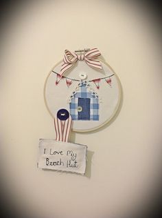 Nautical Beach Hut and Bunting   Embroidery Hoop