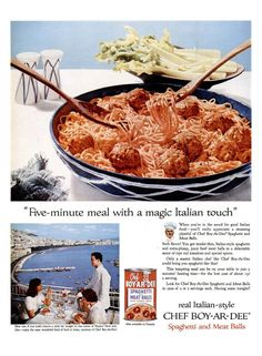 1957 Chef-Boy-Ar-Dee Spaghetti and Meatballs & Lincoln Car Advertisements Print Ad Poster Restaurant Diner Mechanic Shop Wall Art Home Decor