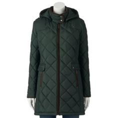 Weathercast hooded quilted anorak jacket women's