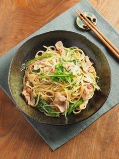 豚ばら肉と水菜のぽん酢パスタ37