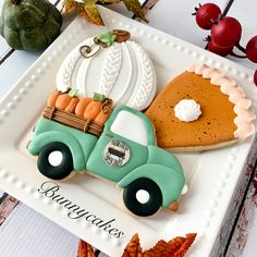 """A Farmhouse Thanksgiving Farmhouse themed decorated sugar cookies, complete with old vintage green pickup truck with pumpkins, """"knitted"""" white pumpkin and a """"slice"""" of good ole pumpkin pie, created by Bunnycakes LLC Amish Sugar Cookies, Cinnamon Sugar Cookies, Chocolate Sugar Cookies, Chewy Sugar Cookies, Rolled Sugar Cookies, Sugar Cookie Dough, Crinkle Cookies, Iced Cookies, Pumpkin Sugar Cookies Decorated"""