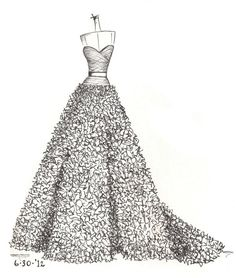 custom gown sketch great gift for anniversary or shower